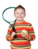 Enfant drôle avec une raquette de tennis Image libre de droits