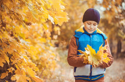 Enfant drôle sur un fond des arbres d'automne photos libres de droits