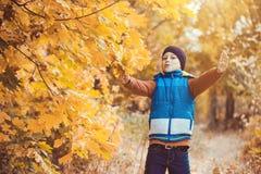 Enfant drôle sur un fond des arbres d'automne photographie stock