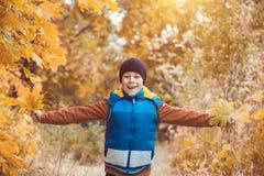 Enfant drôle sur un fond des arbres d'automne photo libre de droits