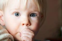 Enfant en bas âge aspirant son pouce. Image libre de droits