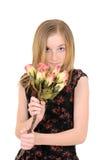 Enfant en bas âge avec des roses Photo stock