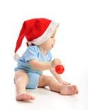 Enfant en bas âge avec le chapeau de Santa Photo libre de droits