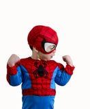 Enfant en bas âge dans un costume de Spider-Man Photos libres de droits