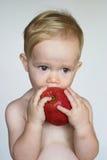 Enfant en bas âge mangeant Apple Photos libres de droits