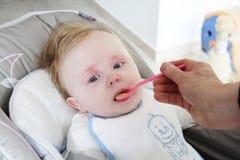 Enfant en bas âge mangeant les choux-fleurs mélangés Image stock