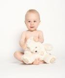 Enfant en bas âge mignon avec le nounours Bear-2 Images libres de droits