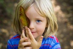 Enfant en bas âge mignon tenant une feuille au-dessus d'oeil images libres de droits