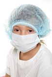 Enfant en bas âge rectifié comme médecin ou chercheur Images stock