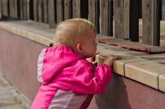 Enfant en bas âge regardant par la frontière de sécurité Photos libres de droits