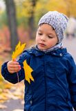 Enfant en bas âge tenant une feuille image stock