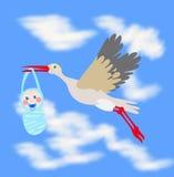 Enfant en bas âge de transport de cigogne dans le bec Photos libres de droits