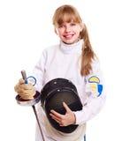 Enfant en clôturant l'epee de fixation de costume. Images libres de droits