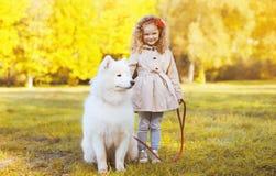 Enfant ensoleillé et chien de photo d'automne marchant en parc Image stock