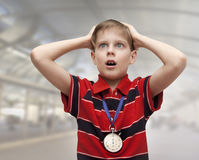 Enfant - entraîneur Photo stock