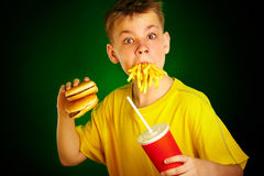 Enfant et aliments de préparation rapide. Images stock