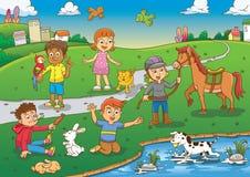 Enfant et animal familier dans la bande dessinée de parc Photo libre de droits