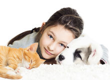 Enfant et animaux familiers Images stock