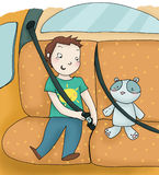 Enfant et ceinture de sécurité Image stock