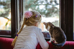 Enfant et chat Photo stock