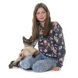 Enfant et chat siamois Image stock
