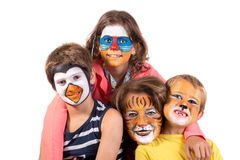 Enfant et mamie avec la visage-peinture photos stock