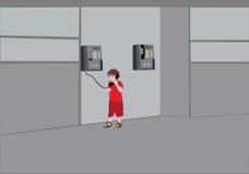 Enfant et téléphone Images libres de droits