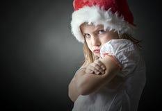Enfant extrêmement grincheux de Noël Images libres de droits