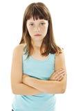 Enfant fâché boudeur de jeune fille, boudant et boudant images stock