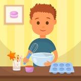 Enfant faisant cuire l'illustration savoureuse de vecteur de dessert illustration libre de droits