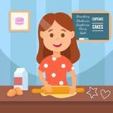 Enfant faisant l'illustration faite maison de vecteur de biscuits illustration stock