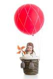 Enfant gai sur le ballon à air chaud Image stock