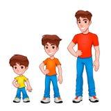 Enfant, garçon et homme, description d'âge. Image libre de droits