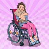 Enfant handicapé Petite fille handicapée heureuse dans le fauteuil roulant Illustration d'art de bruit illustration de vecteur
