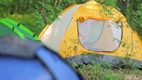 Enfant heureux à l'intérieur de tente de touristes en parc banque de vidéos