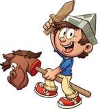 Enfant heureux avec le cheval de bâton illustration stock