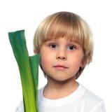 Enfant heureux avec le légume vert Photo stock