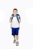 Enfant heureux avec le sac à dos Images libres de droits