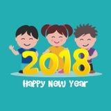 Enfant heureux avec le texte 2018 Image stock