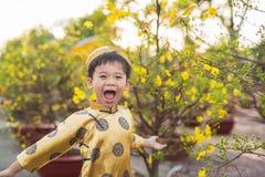 Enfant heureux ayant l'amusement avec la robe traditionnelle ao Dai dans l'Ochna dedans Photographie stock libre de droits