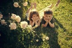 Enfant heureux ayant l'amusement Les enfants se trouvant sur l'herbe verte en été font du jardinage Photo stock