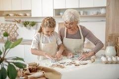 Enfant heureux d'enseignement de grand-mère à faire cuire au four Photographie stock