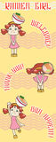 Enfant japonais de fille de serveuse de bande dessinée mignonne Photos libres de droits