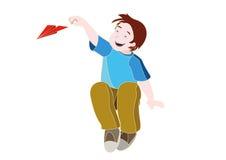Enfant jouant avec l'avion de papier photos libres de droits