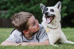 Enfant jouant avec son chien Images libres de droits