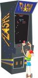 Enfant jouant la vieille machine d'arcade illustration de vecteur