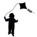 Enfant jouant le vecteur de dragon dans le noir illustration libre de droits