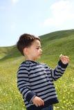 Enfant mâle retenant une marguerite Photographie stock