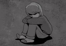 enfant malheureux, illustration maltraitée d'enfants Photographie stock