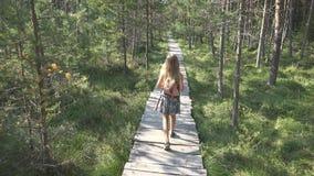 Enfant marchant dans la forêt, nature extérieure d'enfant, fille jouant dans l'aventure campante images stock
